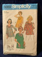 Vintage 1970s Simplicity Maternity Tops Sewing Pattern Size 10 Cut