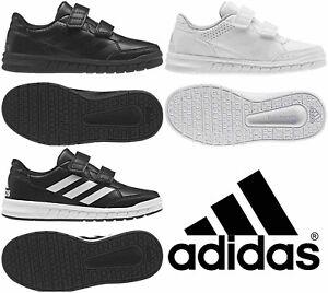 Adidas Boys Shoes Kids Altasport School Casual Running Trainers Black White
