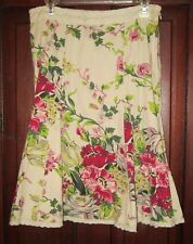 CAbi 4 S Fit Flare Skirt Floral Print Cotton Lace Artsy Spring Summer Style 380