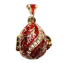 Cloche Pendentif forme Oeuf style Fabergé Cloche Oeuf Pendentif Porte Bonheur