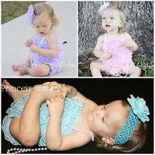 "Lot 3 Baby Petti Ruffles Lace Rompers NB-12M ""You Pick"""