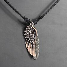 Mens Handmade Hemp Wing & Feather Pendant Black Surfer Necklace Choker SN04