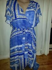 suzannegrae Blue + white lined short flutter sleeve romantic Tea party DRESS 18
