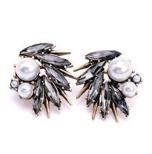 Wing Faux Pearl Ear Stud Earrings 1Pair Fashion Vintage Women Black Rhinestone