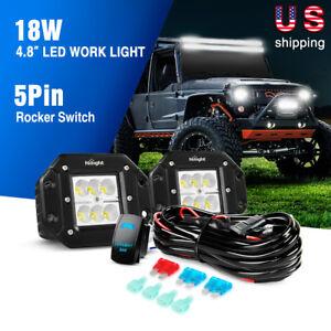 Nilight 2PCS 5inch 18W LED Flood Work Light Bar Offroad Fog Lights + Wiring Kit