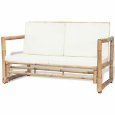 vidaXL Banco de Jardín de Bambú Cojín Blanco 115x65x72 cm Sofá para Exterior