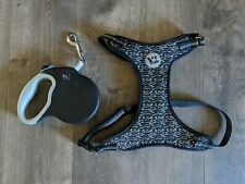 Vibrant Life Reflective Retractable Leash Large Black w/ Speckled Harness XL