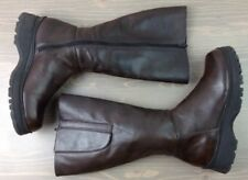 "Womens Knee High Boots 7 Nine West Cloud 9 Nalani Leather Side Zip 12.5"" Brown"