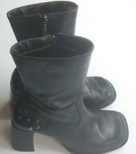 Harley Davidson Motorcycle Riding Boots Black Leather Heeled  Women's Size 6