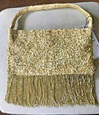 BNWT ZARA GOLD BEADED BAG WITH FRINGING