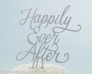 silver happily ever after cake topper wedding cake top fairytale Fairy tale