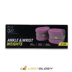 Flo 360 Purple Ankle & Wrist Weights 2 Lb Set (Two 1 LB) Resistance Toning