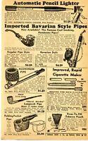 1950 Print Ad Auto Pencil Lighter, Bavarian Pipe, Tobacco Pouch, Cigarette Maker