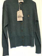 Vivienne Westwood Ladies Cardigan Size M Teal Green Designer Orb Logo Wool Gift