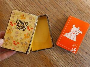 Vintage Scottie Terrier Dog Orange Playing Cards Missing Jokers Used
