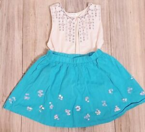 Blue Sequin Skirt Size 7 Elastic Skater Skirt Summer Floral Gymboree Girls