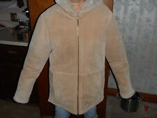 London Fog Genuine Tan Leather Coat Hooded Faux Fur Size: Womens Small -Awesome!