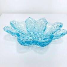 WRIGHT GLASS, L G Daisy and Button Light Blue Jewel Tray Dish