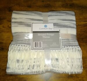 Comfort bay striped fringe throw, off white and gray colored comfy blanket 50×60