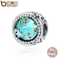 BAMOER Beauty 925 Sterling silver charm Starry sky With CZ World For bracelet