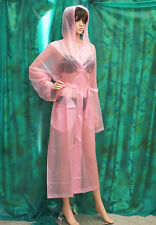 semi tran Salmon Pink PVC vynal Raincoat hooded mackintosh TV fettish size Lrge