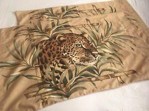 "2 Vtg Jungle Safari Leopard Cheetah Big Cat Tan Green Brown Pillowcases 20""x31"""