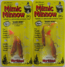 2 - Northland Tackle Mimic Curly Tail Minnow Jig - 1/8 oz. - Gold Shiner
