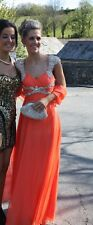 Sherri Hill Prom Dress, Coral colour with sequin, Size US 0 (UK 6/8), WORN ONCE!