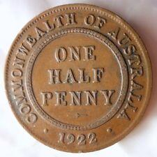 1922 AUSTRALIA 1/2 PENNY - Scarce Early Series Coin - BARGAIN BIN #164