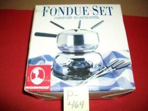ROSHCO STAINLESS STEEL FONDUE SET INCLUDES POT, BURNER, 6 FONDUE FORKS & INSTR.