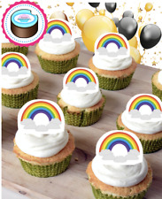 10x EDIBLE STAND UP RAINBOW CUPCAKE TOPPERS, THICK WAFER CARD! UK SELLER