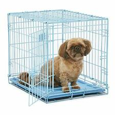 Blue Dog Crate | MidWest iCrate 24 Blue Folding Metal Dog Crate w/ Divider Panel