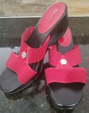 CALVIN KLEIN Ying red black Wedge Heel Sandal Slide  9.5 Stretch Strap Shoes