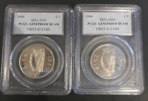 PCGS 1990 Ireland GEM PROOF DCAM First £1 Coin NO RESERVE! PERFECT! Lot Of 2