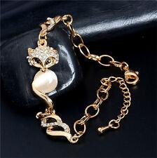 18k Gold Plated Fox Chain Bangle Austrian Crystal Opal Woman Adjustable Bracelet