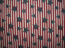 Nice! Patriotic Stars & Stripes Cotton Fabric Red,White,Blue Sold by the half yd