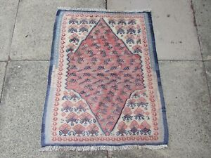 Vintage Traditional Hand Made Oriental Wool White Blue Pink  Small Kilim 85x64cm