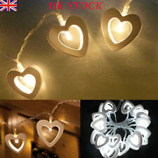 BATTERY 10/20 CHRISTMAS STRING LIGHTS LED STRINGS OPERATED WOODEN HEART FAIRY