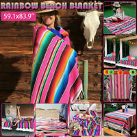 Colourful Mexican Serape Tablecloth Striped Blanket Yoga Throw Rug Table Runner