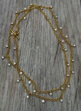 $33k Cathy Waterman 22K Yellow Gold platinum diamond necklace, chain 3.6TCW, 35""