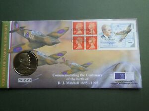R J Mitchell Commemorative Coin and First Day Cover  Spitfire Aircraft