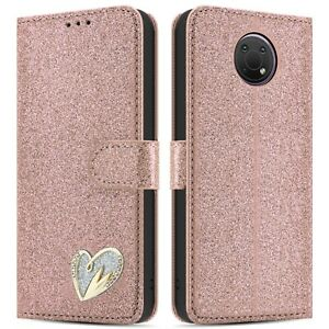 For Nokia G10 Case Shiny Leather Bling Glitter Wallet Book Flip Folio Stand View