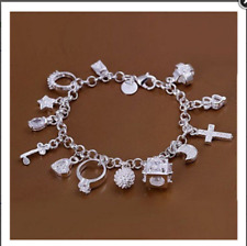 Wholesale Christmas Gifts Fashion Jewelry Charm 925 Silver Bracelets