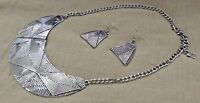 Front Row Antique Silver Statement Necklace and Earring Set