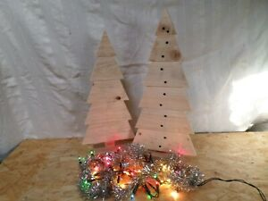 Hand Made Upcycled Pallet Wood Christmas Tree's X 2