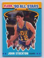 """1990-91  JOHN STOCKTON - Fleer """"ALL-STAR"""" Basketball Card # 9 - UTAH JAZZ"""