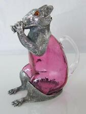 More details for silver plate & cranberry glass squirell decanter glass eyes
