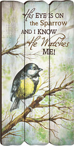 His Eye Is On The Sparrow Small 12x6 Fence Post Wood Look Wall Art Plaque