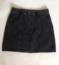 Pull&Bear Dark Grey Washed Out Denim Jeans Button Down Skirt - Size EUR M