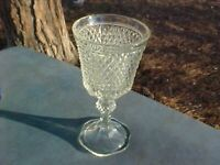 Antique Vintage Early Pressed Glass Large Goblet Chalice Vase Clear Crystal